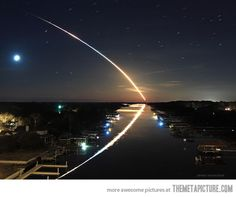 Shuttle launch reflection