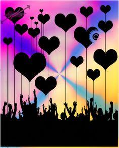 love, Show, vector, graphic, Art, design, digital, hearts, Hands, crowd