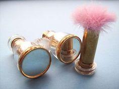 Rare Figural Antique Opera Glasses Lipstick & Powder Puff Makeup Case ...