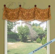 his beautiful window valance works in virtually any room. It comes in many different widths to accommodate even the most difficult windows. Because it is installed using drapery medallions and not curtain rods, it can even accommodate a slightly curved wall.