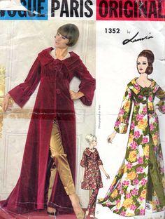 1960s Vogue Paris Original Ladies Housecoat Pants by Lanvin, Bust- 34 #60s #retro #vintage