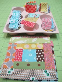 scrappi quilt, muffin tins, bee