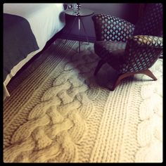 """So we photographed some knitwear, zoomed in, and printed it onto our vinyl cushion flooring (Floorink) to create this oversized chunky """"knitted"""" floor - what do you think?"""