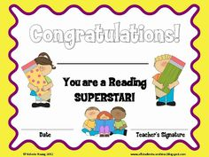 Classroom Freebies Too: Reading Certificate