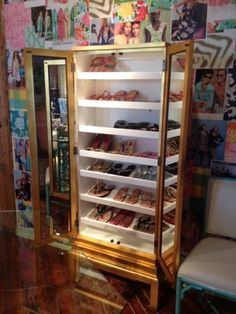 Show-off Shoe Cabinet by Lilly Pulitzer.  A super stylish way to display & organize your shoes.  Perfect for those with little closet space or the girl who wants a sassy place to store her shoes!