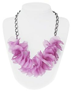 "FREE jewelry-making project! Try this ""Pretty petal necklace"" by Kelsey Lawler in the 2014 Pantone color of the year, radiant orchid! BeadStyleMag.com"