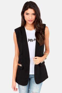 Vest to Impress Black Vest at LuLus.com! #lulus #holidaywear