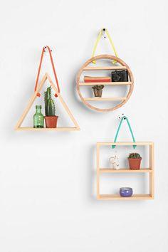 Hanging Rope Triangle Shelf decor, interior, shelves, shelf, hous, hang rope, ropes, rope shelv, diy