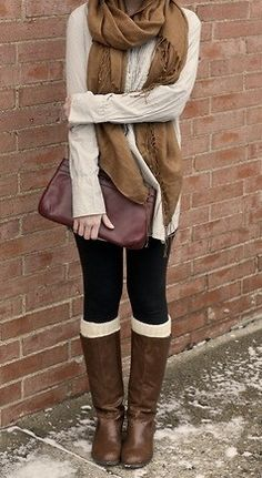 Boots leggings scarf snuggled up!