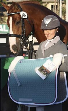 """Stacy Larsson and the stallion Benidetto in Animo's Lagos Shadbelly in the light grey color they call """"Falco""""  Read about """"50 Shades of Grey ... Shadbellies"""" on the new dressage style blog www.shadbelly.com."""