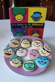 Cookies based on It's Okay To Be Different by Todd Parr for Playing By The Book's 2012 International Edible Book Festival