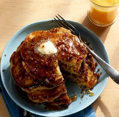 Cornmeal Flapjacks with Bourbon-Bacon Maple Syrup