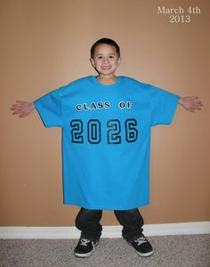 Starting in Kindergarten, put the child's graduation year on a large tshirt. Take a picture each year with same shirt to watch the child grow into the shirt. Display at graduation party! Love this idea!