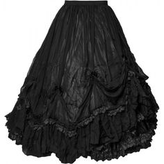 Long black gothic skirt by Sinister, elastic waist seam, ruffled layers of fabric, detailed with lace.