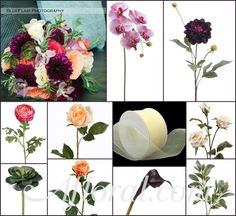 #purple wedding #peach wedding #afloral http://blog.afloral.com/inspiration-boards/jackies-purple-peach-wedding-flower-inspiration-board/