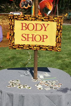 Body shop for kids to get their monster truck tatoos put on