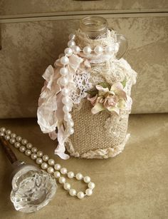 bottle with burlap and pearls