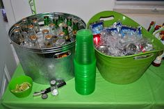 Diary of a Preppy Mom: {BBQ Baby Shower} tubs of beers n soda