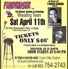 """Our team is hosting a comedy night at the Hoboken Elks lodge as a fundraiser for the team on April 11th starting at 6:30pm. We've got some great comedians coming and the ticket includes dinner!"""""""