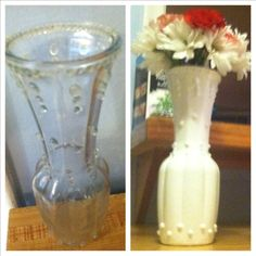 "diy faux ""milkglass"" how to: glue hot glue dots (or puffy paint) in design(s) of your own creation onto clear glass vase. paint with matte or glossy white acrylic paint. let dry. repeat with another coat. voila. faux milkglass."