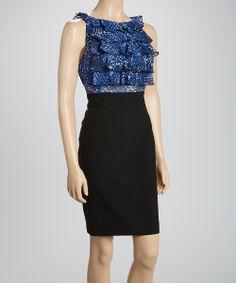Black & Cobalt Ruffle Sleeveless Dress | Daily deals for moms, babies and kids