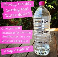 Have we talked about how important it is to drink water lately? This is a great idea to reach your daily goals- it doesn't have to be hard to get your daily intake in, you just have to get into a routine and your body will start to trigger thirst at these times of day :)