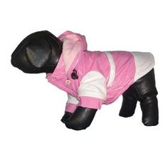 Pet Life PVC Raincoat with Removable Hood - Pink/White - LG $16.99
