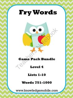 Fry Word Interactive Games - Level 4 - Lists 1-10 - Words 751-1000 from Knowledge Mobile on TeachersNotebook.com -  (80 pages)  - A set of 10 interactive games that emphasize Fry's 1000 Words. Students love them. Purchase today so your students will learn tomorrow!!!