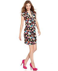 RACHEL Rachel Roy Dress, The Charlotte Sleeveless V-Neck Tie Printed - Womens Shop Apparel - Macy's