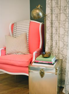 coral chair, color schemes, coral accent chair, chair upholstery, 2014 living room colors, wingback chairs