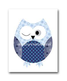 Owl Nursery Art print Kids wall art baby room decor