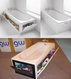 Bath tub hidden drawers for cleaning supplies.