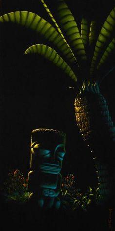 Tiki Vignette #2 Black Velvet....Custom Palm Springs   by Robb Hamel   Original Oil