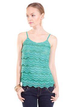Niva Crochet Lace Cami in Paris Green