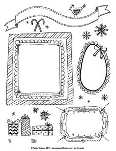 Free Holiday Kids Printable Coloring Page...or cut apart and use as tags or ornaments for a kids tree