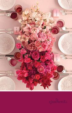 ombre flowers #wedding #ombre #pink #red