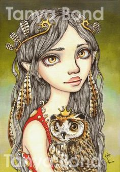 TABITHA and her Royal Owlet surreal pop fantasy art by tanyabond