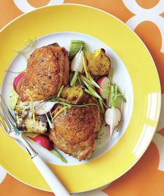 Roasted Chicken With Summer Squash, Radish, and Scallion Salad recipe: Roast chicken thighs on the top rack of your oven for the crispiest, crunchiest skin.