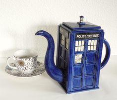 TARDIS Teapot: Made-To-Order Handmade Blue Police Box Teapot. $120.00, via Etsy.