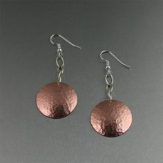 Hammered Copper Disc Drop Earrings | Copper Anniversary Gifts