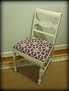 Thrift Store Chair Re-do DIY paint and old recover dining chair