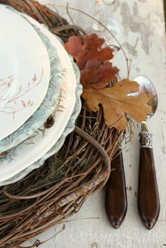 fall table setting with vine wreaths