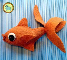 Wool Felt goldfish made with cantaloupe thick 100% wool felt.