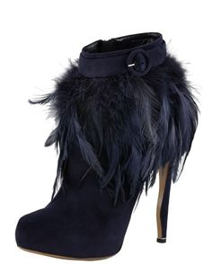 Feather-Trim Suede boots! HOT!