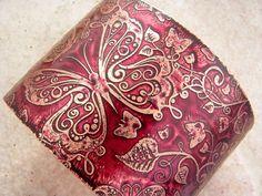 Etched Copper Cuff Bracelet Butterflies Burgundy
