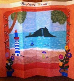 This customer purchased the $59 blank DIY cardboard divider and painted a beautiful collage with her daughter.  It came out beautifully.
