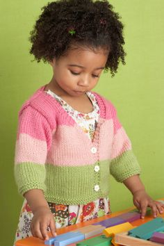 Knit this cute cardigan in your child's favorite colors.