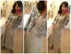Grey chevron maxi dress, denim jacket, putty MUST HAVE wedges, and Stella and Dot jewelry!