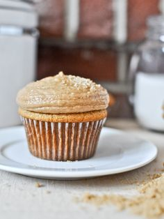 Brown Sugar Cupcakes with Peanut Butter Brown Sugar Frosting. - By How Sweet It Is