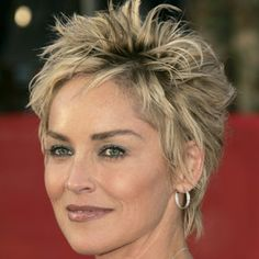 sharon stone, pixie cuts, short haircuts, layered hairstyles, celebrity hairstyles